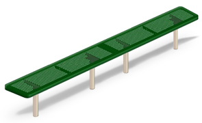 Model H10PNB-I | Perforated Steel Backless Players Bench (Green/Clay)