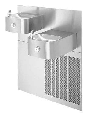 Model H1119.8 | Refrigerated Hi-Lo Drinking Fountain with Two Stainless Steel Rectangular Bowls