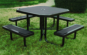 Model H46-P | Portable Octagon Picnic Tables | Punched Steel Style (Black/Black))