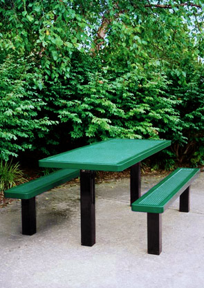 Model H6-IP | Rectangular Outdoor Table | Punched Steel Style (Green/Black)