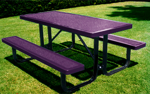 Model H6-P | Rectangular Picnic Table | Punched Steel Style (Purple/Black)