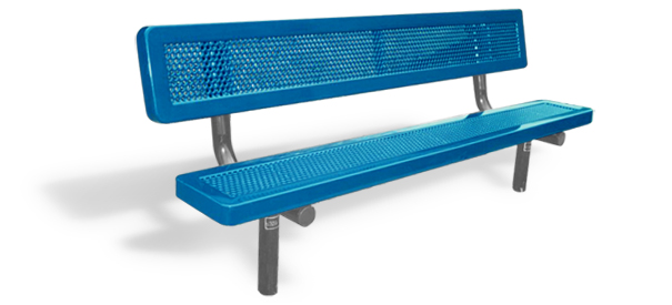 Model H6WB-I | Traditional Perforated Steel Bench with Back (Lt. Blue/Gray)