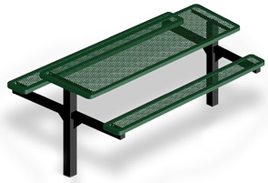 Model H8-I | Rectangular Picnic Tables | Punched Steel Style (Green/Black)