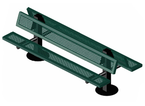 Traditional Perforated Steel Bench with Back (Green/Black)