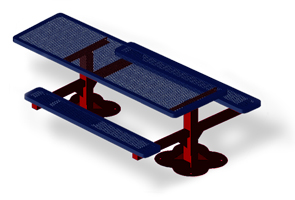 Model H8H-S | Rectangular Picnic Tables | Punched Steel Style (Mariner/Red)