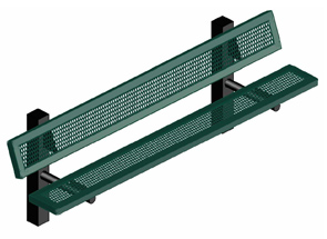 Model H8WB-IP | Traditional Perforated Steel Bench with Back (Green/Black)