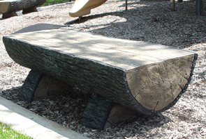 Model HLB-6 | Concrete Half Log Bench