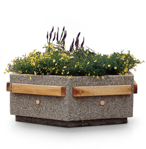Model HPW3618-DF | Hexagon Concrete Planter w/ Douglas Fir Trim (Perma Stone Dove Gray)