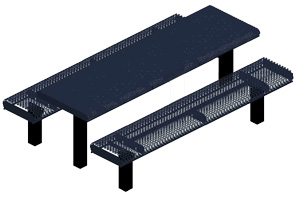 Model HR8-IP | Rectangular Picnic Tables | Punched Rolled Style (Mariner/Black)