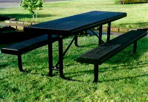 Model HR8-P | Rolled Perforated Steel Tables (Black/Black)