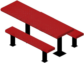 Model HR8H-IPS | Rectangular Picnic Tables | Punched Rolled Style (Red/Black)