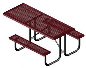 Model HSL10H-P | Rectangular Portable Tables | Punched Comfort Style (Burgundy/Black)