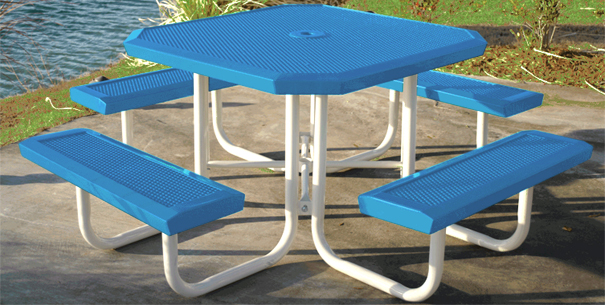 Model HSL46-P | Perforated Octagon Picnic Tables (Lt. Blue/White)