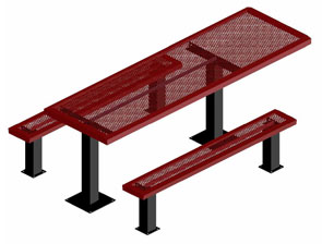 Model HSL6H-IPS | Rectangular Picnic Table | Punched Comfort Style (Burgundy/Black)