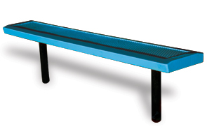 Model HSL6NB-I | Perforated Backless Park Benches with Slanted Edges (Lt. Blue/Black)