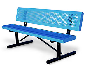 Model HSL6WB-P | Perforated Park Benches with Slanted Edges (Lt. Blue/Black)