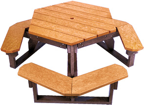 Model HT-100 | Recycled Plastic Hexagonal Picnic Table (Cedar/Brown)