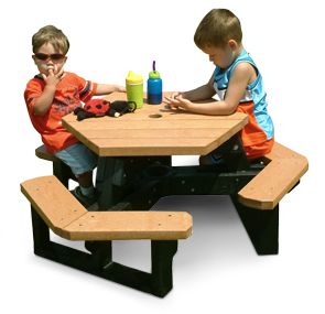 Model HT-100Y | Recycled Plastic Kids Picnic Table (Cedar/Black)
