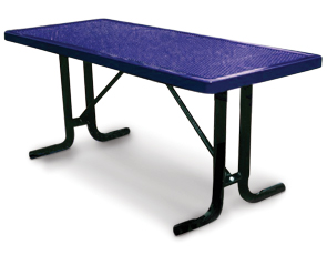 Model HT6-P | Rectangular Outdoor Tables | Perforated Metal Style (Purple/Black)