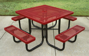 Model RU46-P | Portable Thermoplastic Perforated Steel Picnic Table (Red)