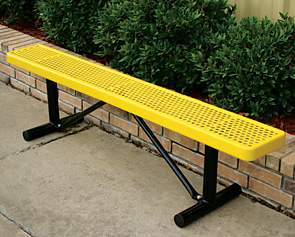 Model HU6NB-P | 6' Thermoplastic Coated Bench - Backless (Yellow/Black)