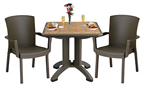 "Model US743037 & Model US903037 | Havana 32"" Square Folding Table with Matching Havana Arm Chairs (Espresso)"