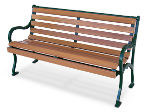 Model IVBSS-48-R | 4ft. Iron Valley Slatted Bench | Recycled Plastic