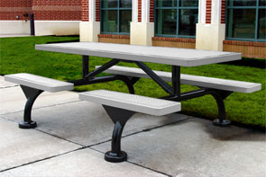Model JH7-S | Rectangular Commercial Picnic Tables | Span Style (Gray/Black)