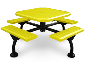 Model JHSL46-I | Span Style Octagonal Picnic Table | Optional Leg Cover (Yellow/Black)