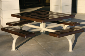 Model JP46-S | 4 Seat Square Outdoor Picnic Table (Brown/Clay)