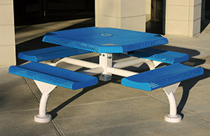 "Model JP468-S | 46"" Octagonal Thermoplastic Table - 4 Attached Seats - Surface Mount with Optional Covers (Lt. Blue/Clay)"