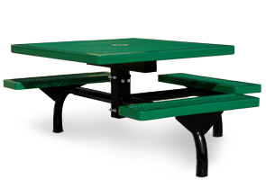 Model JR46-S | Commercial Square Outdoor Table | Span Style (Green/Black)
