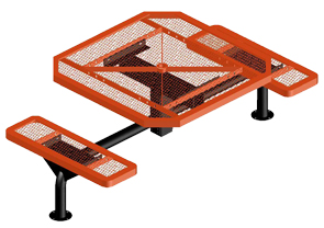 Model JR4682-S | Octagon Picnic Tables | Span Style (Orange/White)