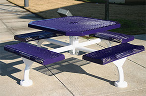 Model JRR468-S | Octagonal Commercial Picnic Table | Span Style (Purple/White)