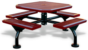 Model JRSL46-I | Octagon Picnic Tables | Span Style (Red/Black)