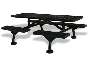 Model JRSL7-S | 7' Rectangular Thermoplastic Table | Surface Mount with Optional Covers (Black/Black)