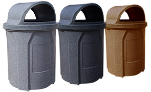 Model KC42-WT-G | Round Recycled Plastic waste Receptacle