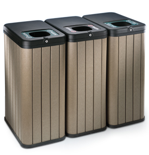 Model KT1030 | Triple 23 Gallon Trash Receptacles (Gray)