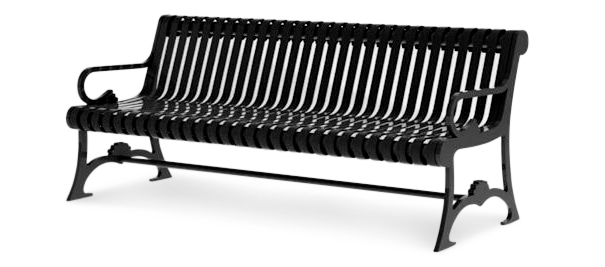 Model LB-72 | Lemars Series Ribbed Steel Outdoor Bench with Backrest (Black)