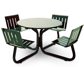 Model LTRND-4 | Lemars Series Round Powder-Coated Steel Outdoor Table with Four Seats (Pro Green II)