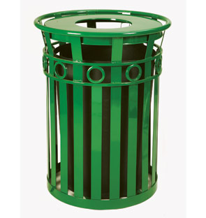 Model 3600-R-FT | Oakley Decorative Slatted Trash Receptacle | Flat Top Lid (Green)