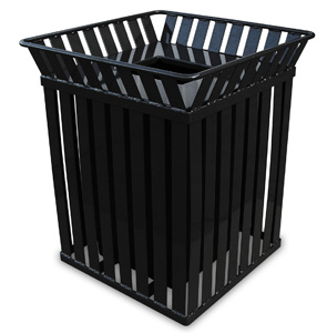 Model M3601-SQ-FT | Square Trash Receptacle (Black)