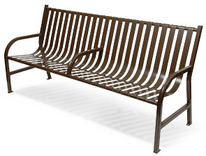 Model M6-BCH-ARM | Basic Slatted Steel Benches (Black)