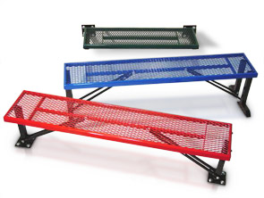 Model MB1 | Model MB2 | Model MB3 | Mesh Steel Backless Benches Collection (Black, Blue/Black, Red/Black)
