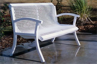 Model MC4WB-P | Thermoplastic Coated Steel 4 Foot Park Bench (White)
