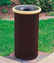 Model MF3010 | Metal-Armor 14 Inch Dia. Waste Container (Cream/Brown)