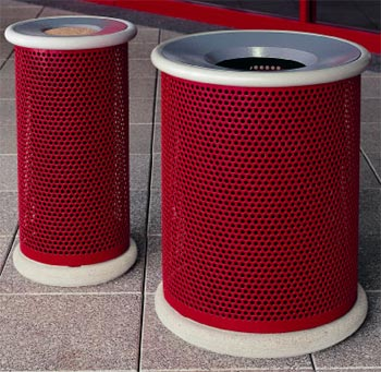 Model 4001 Ash Urn | MF7101 Concrete Base | MF3001 Waste Container| MF7100 Concrete Base (Red/French Gray)