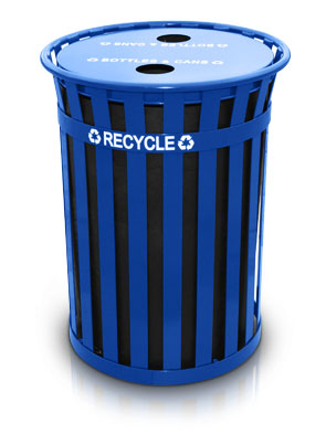 Model MR50-FTR-BL | Basic Slatted 50 Gal. Recycling Receptacle with Flat Top | Oakley Collection (Blue)