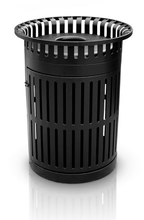 Model MS32TR | 32 Gallon Thermoplastic Coated Trash Receptacle with Swing Door (Black)