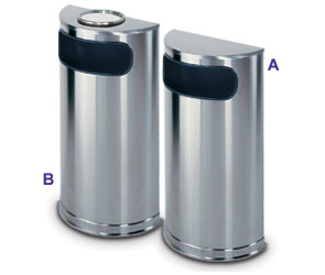 Satin Stainless Steel Half Round Receptacles